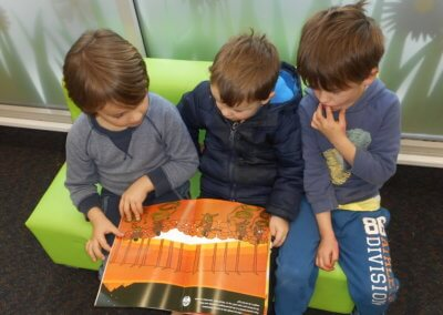 Island Bay Childcare kids reading a book together